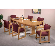 Contemporary Series Wood Conference Octagonal Table with Trestle Base