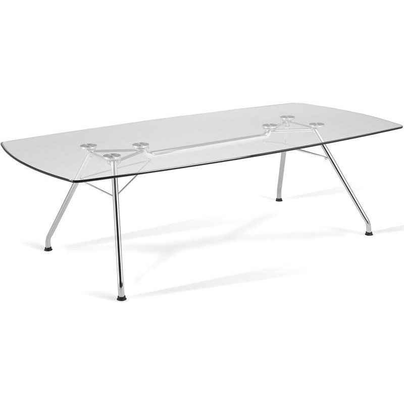 ... Our 47u0027u0027 D X 94u0027u0027 W Glass Top Conference Table With Steel
