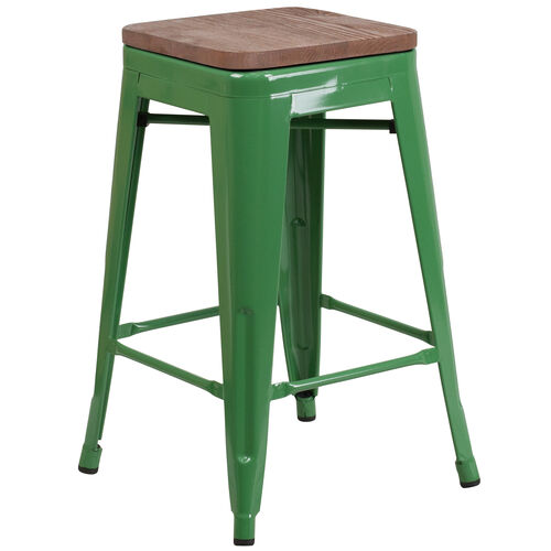 """Our 24"""" High Backless Green Metal Counter Height Stool with Square Wood Seat is on sale now."""