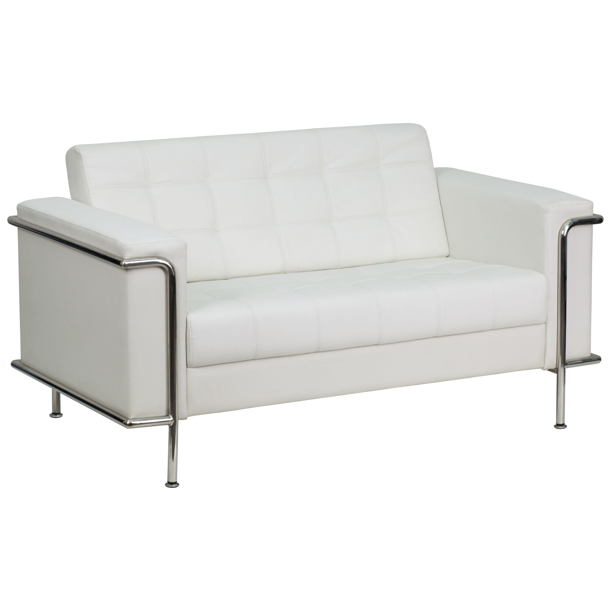 Flash Furniture Hercules Lesley Series Contemporary Melrose White Leather Loveseat With Encasing