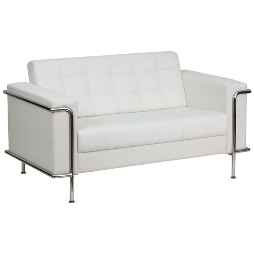 Our HERCULES Lesley Series Contemporary Melrose White Leather Loveseat with Encasing Frame is on sale now.