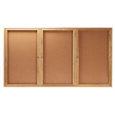 3 Door Enclosed Bulletin Board with Oak Finish - 36''H x 72''W