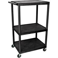 Endura 3 Shelf Mobile A/V Cart - Black - 32