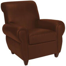 7770 Chair w/ Rolled Arms Upholstered in Brown Leather