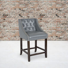 """Carmel Series 24"""" High Transitional Tufted Walnut Counter Height Stool with Accent Nail Trim in Light Gray LeatherSoft"""