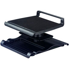 Laptop LCD Monitor Station with Keyboard and Stationary Tray - Black