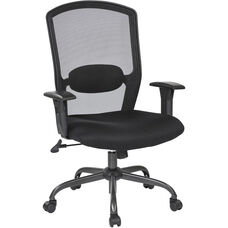 Work Smart Screen Back Office Chair with Mesh Seat and Titanium Finish Base - Black