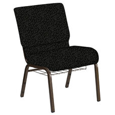 Embroidered 21''W Church Chair in Jasmine Pewter Fabric with Book Rack - Gold Vein Frame