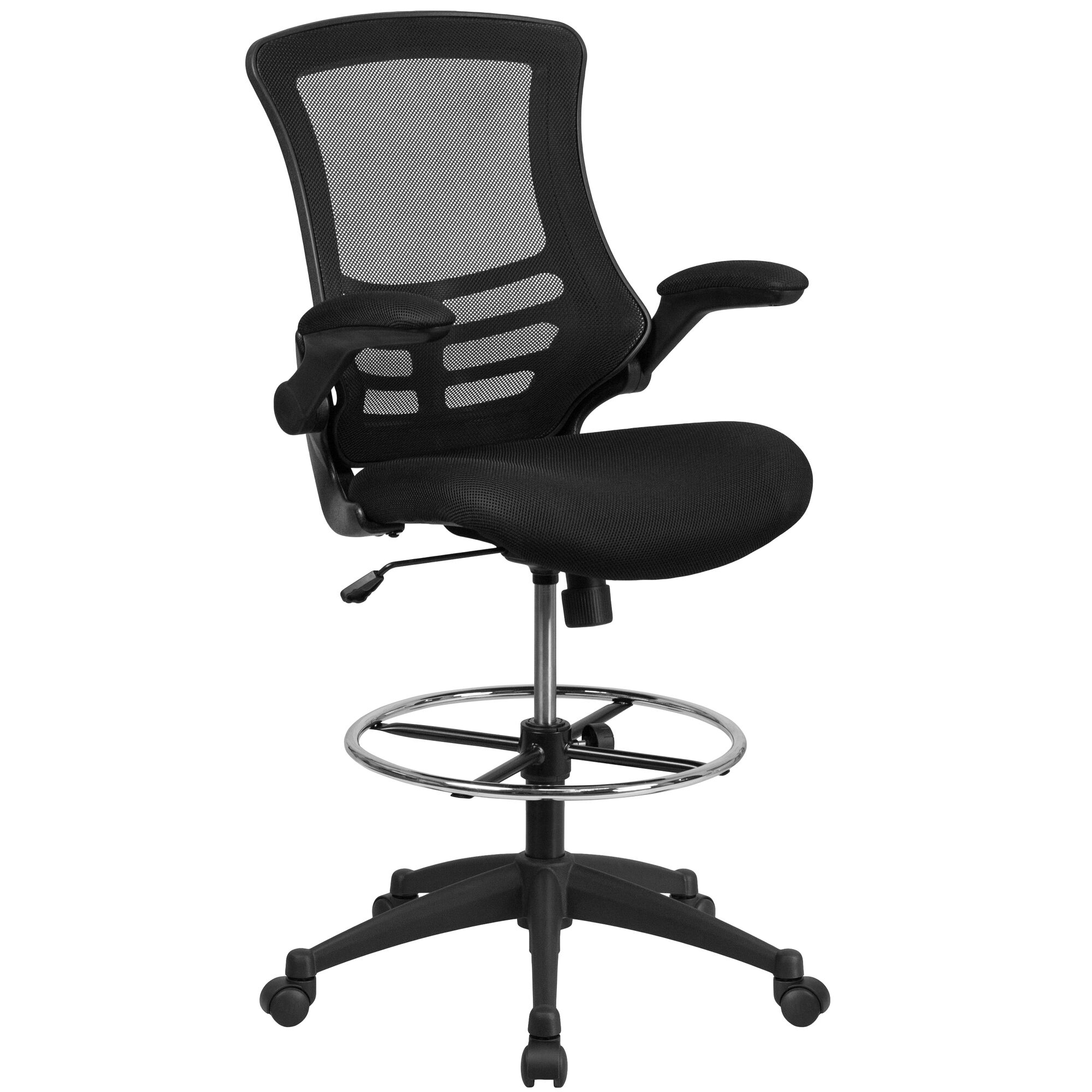 Astounding Mid Back Black Mesh Ergonomic Drafting Chair With Adjustable Foot Ring And Flip Up Arms Gmtry Best Dining Table And Chair Ideas Images Gmtryco