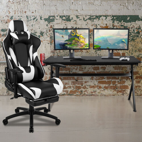 BlackArc Black Gaming Desk and Black Footrest Reclining Gaming Chair Set - Cup Holder/Headphone Hook/Removable Mouse Pad Top/Wire Management