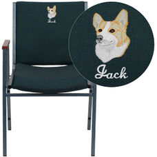 Embroidered HERCULES Series Heavy Duty Green Patterned Fabric Stack Chair with Arms