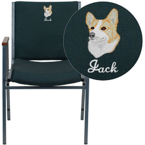 Our Embroidered HERCULES Series Heavy Duty Green Patterned Fabric Stack Chair with Arms is on sale now.