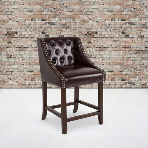 "Our Carmel Series 24"" High Transitional Tufted Walnut Counter Height Stool with Accent Nail Trim in Brown LeatherSoft is on sale now."