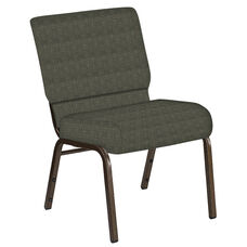 Embroidered 21''W Church Chair in Abbey Fern Fabric - Gold Vein Frame