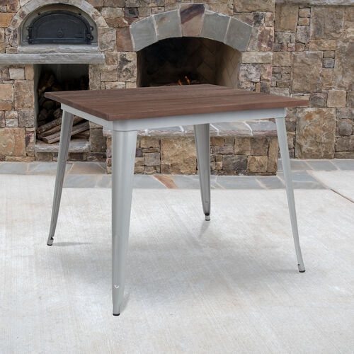 "Our 36"" Square Silver Metal Indoor Table with Walnut Rustic Wood Top is on sale now."