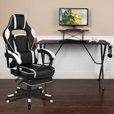 BlackArc Black Gaming Desk with Cup Holder/Headphone Hook/Monitor Stand & White Reclining Back/Arms Gaming Chair with Footrest