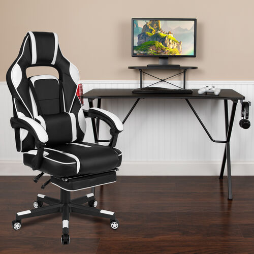 Our BlackArc Black Gaming Desk with Cup Holder/Headphone Hook/Monitor Stand & White Reclining Back/Arms Gaming Chair with Footrest is on sale now.