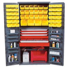 All-Welded Storage Bin Cabinet with 58 Bins - Yellow
