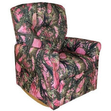Kids True Timber Fabric Contemporary Rocker Recliner with Tufted Back - Camo Pink