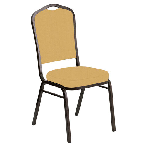 Our Embroidered Crown Back Banquet Chair in Fiji Sunshine Fabric - Gold Vein Frame is on sale now.