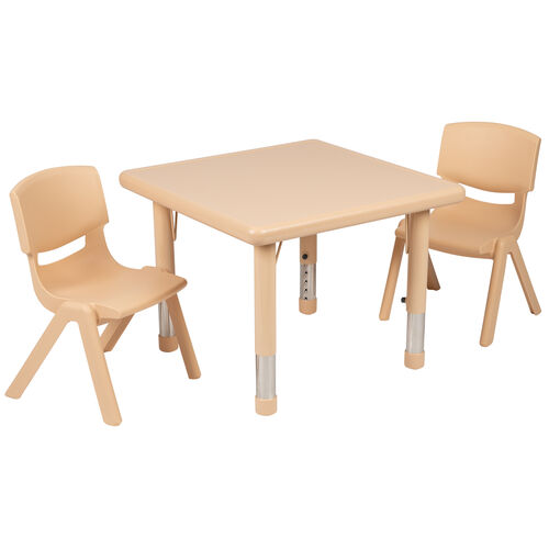 """Our 24"""" Square Natural Plastic Height Adjustable Activity Table Set with 2 Chairs is on sale now."""
