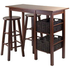 Egan 5-Pc Breakfast Table with 2 Baskets and 2 Stools