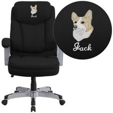 Embroidered HERCULES Series Big & Tall 500 lb. Rated Black Fabric Executive Ergonomic Office Chair with Arms