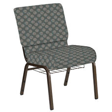 Embroidered 21''W Church Chair in Cirque Olive Fabric with Book Rack - Gold Vein Frame
