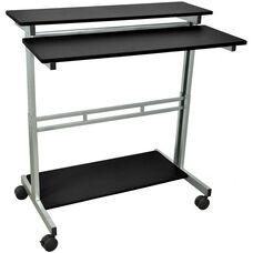 Steel Frame 3 Shelf Adjustable Height Standing Presentation Station - Black - 39.5