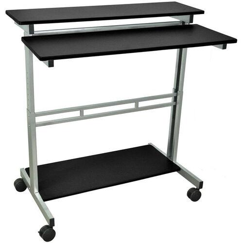 Our Steel Frame 3 Shelf Adjustable Height Standing Presentation Station - Black - 39.5