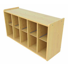 1000 Series Wall Mounted Coat Rack Storage with 10 Cubbies - Unassembled