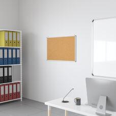 "HERCULES Series 35.5""W x 23.5""H Natural Cork Board with Aluminum Frame"