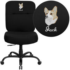Embroidered HERCULES Series Big & Tall 400 lb. Rated Black Fabric Executive Rectangle Back Ergonomic Office Chair