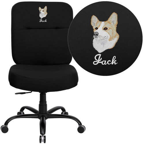 Embroidered HERCULES Series Big & Tall 400 lb. Rated Executive Swivel Ergonomic Office Chair with Rectangular Back
