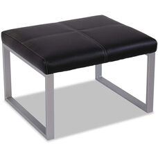 Alera® Ispara Series Cube Ottoman with Heavy Duty Silver Steel Frame - Black Leather