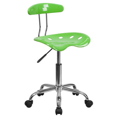Our Vibrant Apple Green and Chrome Swivel Task Office Chair with Tractor Seat is on sale now.