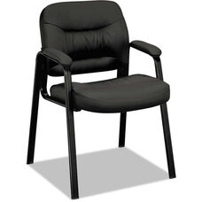 Basyx® VL640 Series Leather Guest Arm Chair with Leg Base - Black
