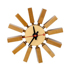 Postmodern Wall Clock with Painted Natural Wood Spokes