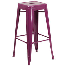 "Commercial Grade 30"" High Backless Purple Indoor-Outdoor Barstool"