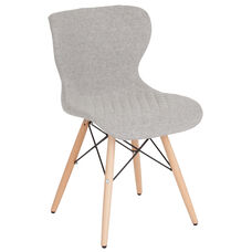 Riverside Contemporary Upholstered Chair with Wooden Legs in Light Gray Fabric