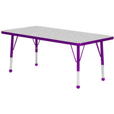 Adjustable Standard Height Laminate Top Rectangular Activity Table - Nebula Top with Purple Edge and Legs - 36