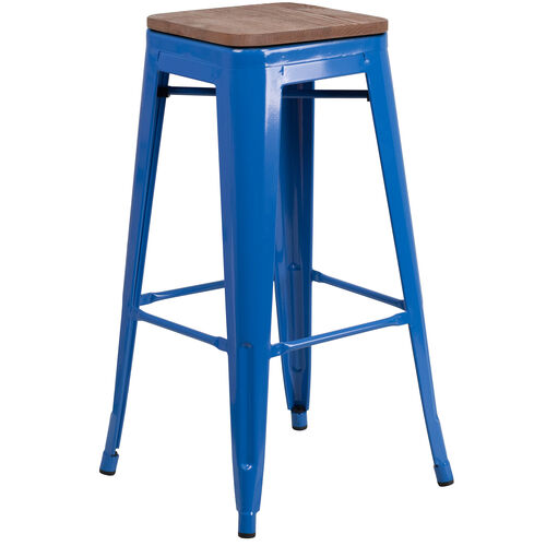 "Our 30"" High Backless Blue Metal Barstool with Square Wood Seat is on sale now."