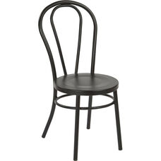 OSP Designs Odessa Metal Dining Chair with Backrest - Set of 2 -Matte Black