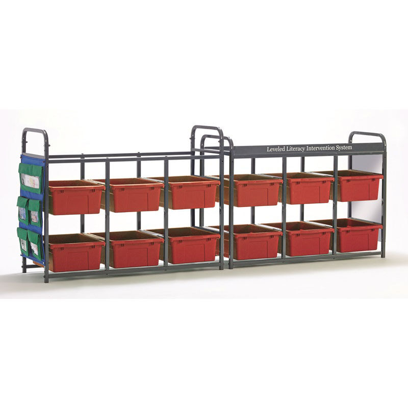 ... Our Storage Room Organizer for Leveled Literacy Program with 12 Open Tubs - Red is on