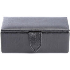 Suede Lined Travel Cufflink Storage Box Holds 2 Pairs - Saffiano Genuine Leather- Black