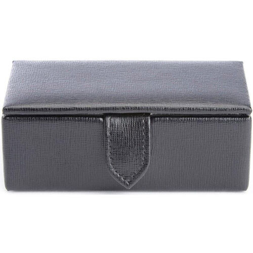 Our Suede Lined Travel Cufflink Storage Box Holds 2 Pairs - Saffiano Genuine Leather- Black is on sale now.