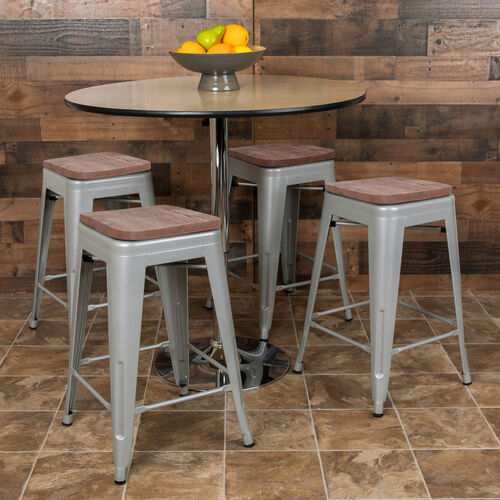 """Our 24"""" High Metal Counter-Height, Indoor Bar Stool with Wood Seat in Silver - Stackable Set of 4 is on sale now."""