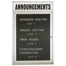 1 Door Outdoor Enclosed Directory Board with Header and Aluminum Frame - 24