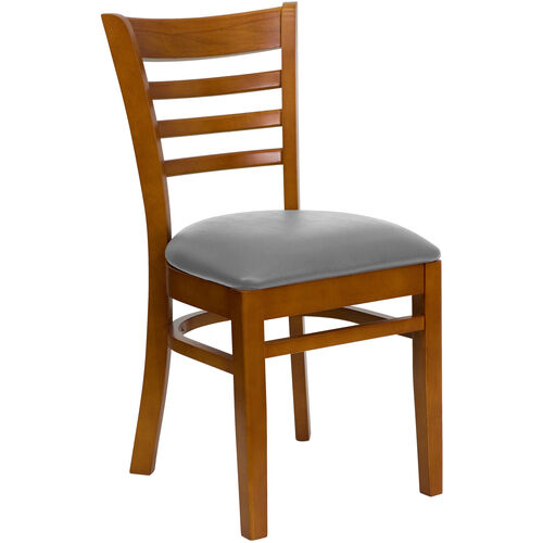 Our Cherry Finished Ladder Back Wooden Restaurant Chair with Custom Upholstered Seat is on sale now.