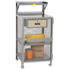 4 Shelf Enclosed Steel Shop Desk with 1 Locking Drawer - 24